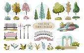 Set of isolated park elements, trees and flowers, vector illustration. Creative stickers with nature, park or forest. Different trees, bushes, bench, lamppost and fountain. Collection of nature icons