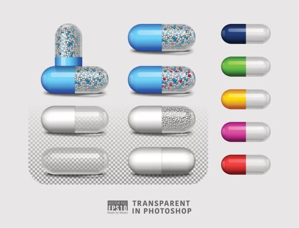 illustrazioni stock, clip art, cartoni animati e icone di tendenza di set of isolated pill drug on transparent background - capsula