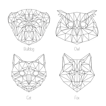 Set of isolated  poligonal geometric triangle animal faces. Hipster style
