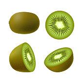 Set of isolated realistic colored whole juicy kiwi, half green kiwi and kiwi circle on white background. Realistic fruit collection