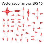 Set of isolated red and pink arrows