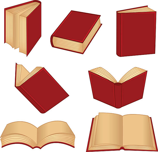 set of isolated red book - book clipart stock illustrations