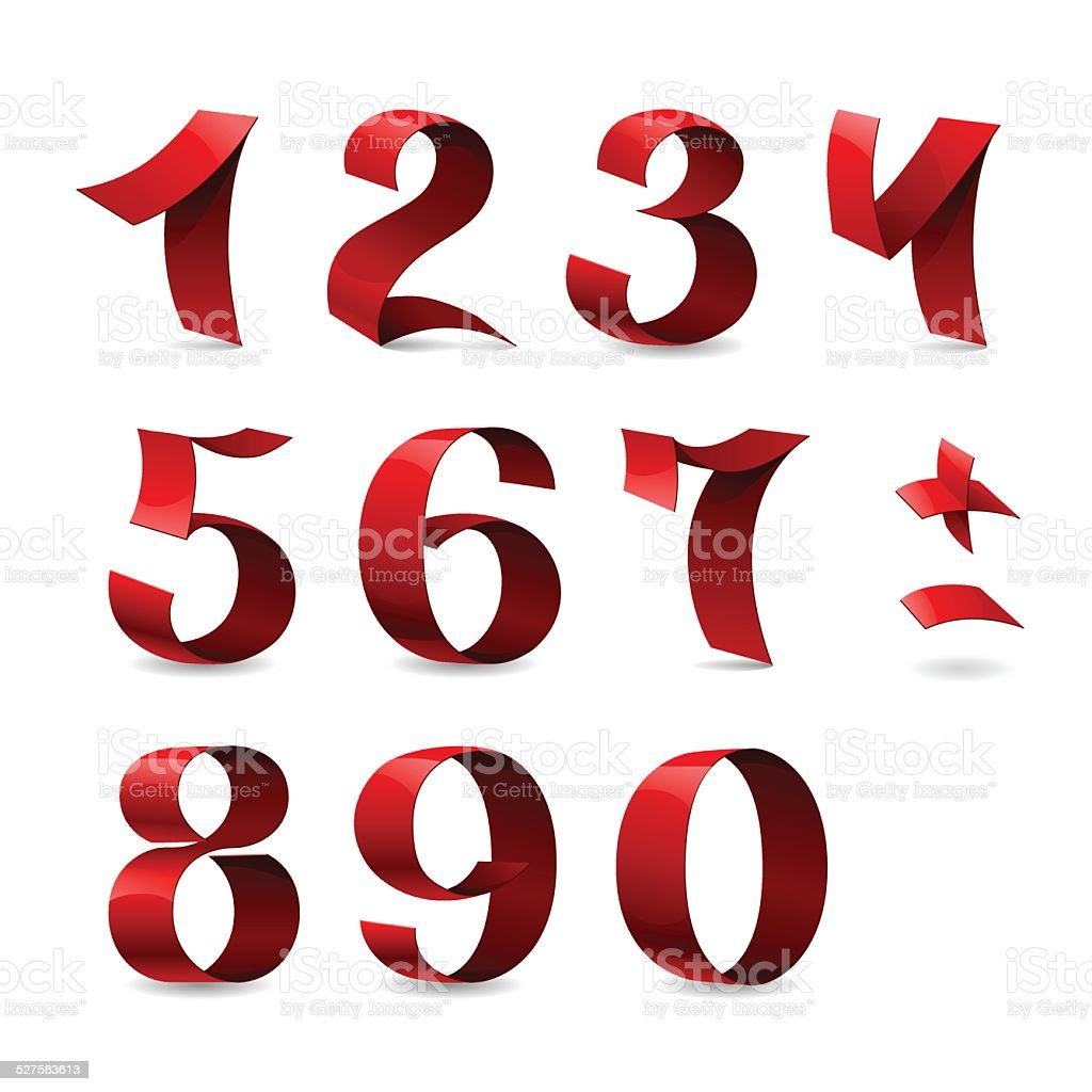 Set of isolated red ribbon numbers on white background vector art illustration