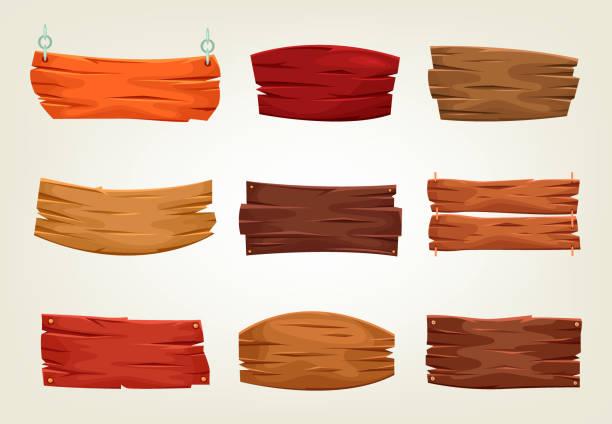 zestaw odizolowanych drewnianych znaków retro do znajdowania ścieżki - drewno tworzywo stock illustrations