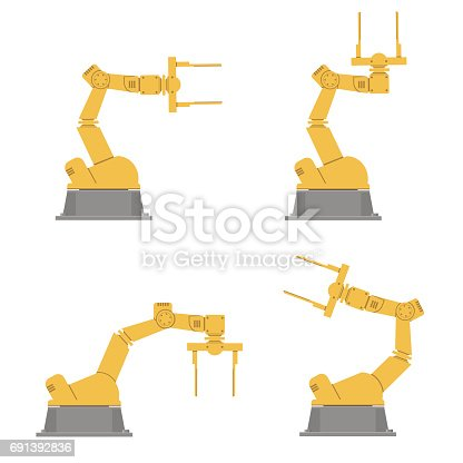 Set of isolated robotic hands. Assembly using robotic arms. Industrial technology and factory. Vector illustration.