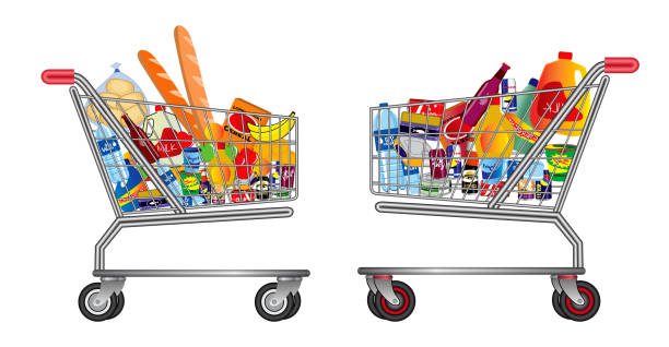 set of isolated Shopping trolley full of food, fruit, products and grocery goods. set of isolated Shopping trolley full of food, fruit, products and grocery goods. easy to modify market retail space stock illustrations