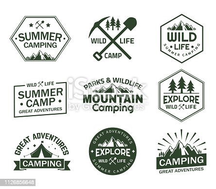 Set of isolated signs with mountains for summer camping. Rocks and wildlife signs for sport club, badge for alps or alpine climbing club. Camping and hiking, exploration and journey theme