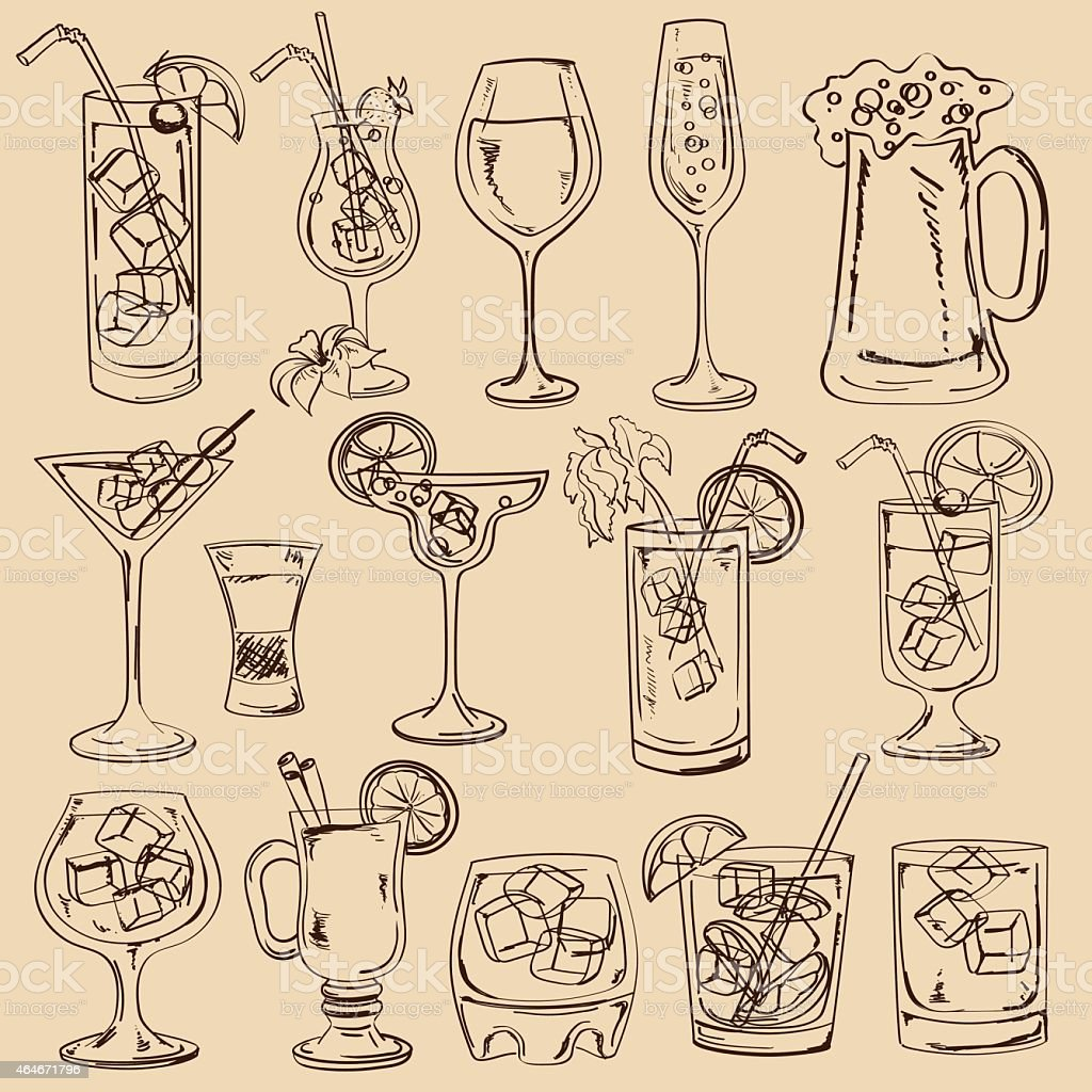 Set of isolated sketch cocktails vector art illustration