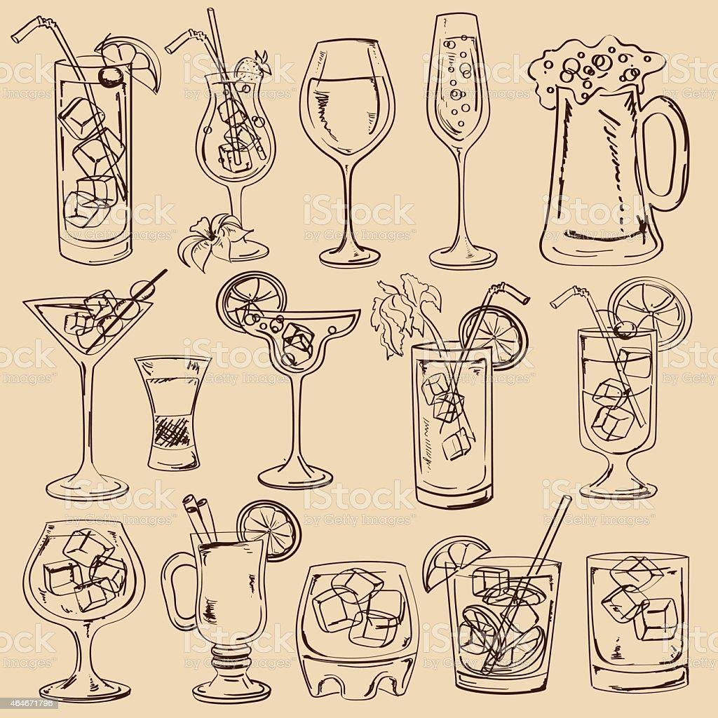 Set di cocktail isolato disegno - illustrazione arte vettoriale