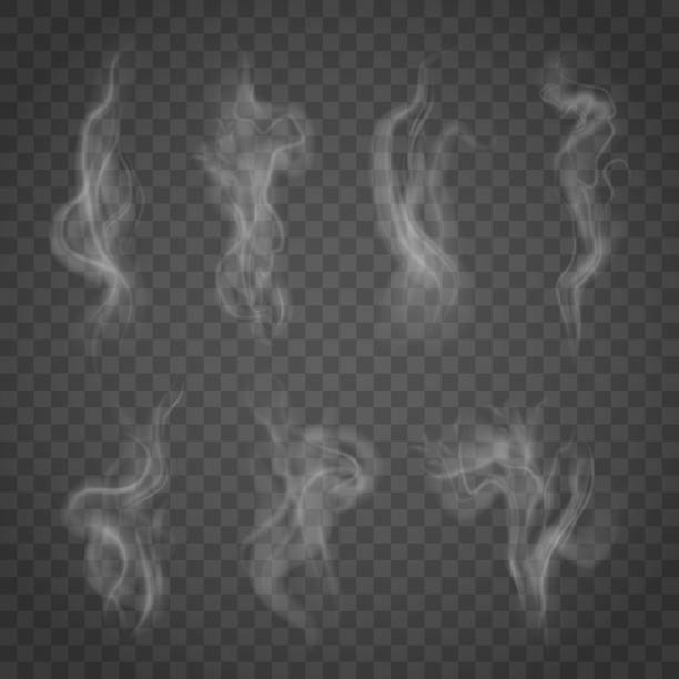 set of isolated smoke on a transparent background. - smoke stock illustrations