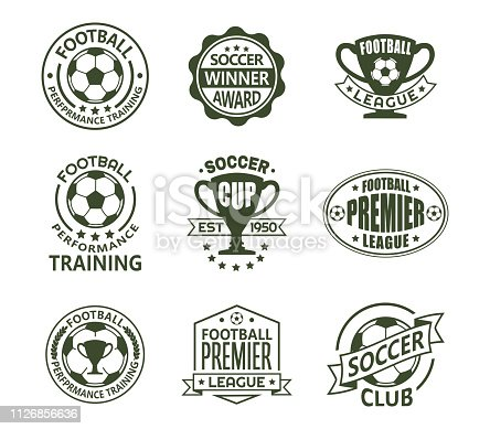 Set of isolated vintage european football signs. Retro emblems with ball and ribbon, cup or trophy for soccer club. icon for national tournament or team, training club. Sport and competition theme