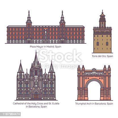 Set of isolated Spanish or Spain landmark buildings. Plaza Mayor or Main square of Madrid, Torre del Oro or watchtower, cathedral of Holy Cross, Saint Eulalia of Barcelona,Triumphal Arch of Barcelona