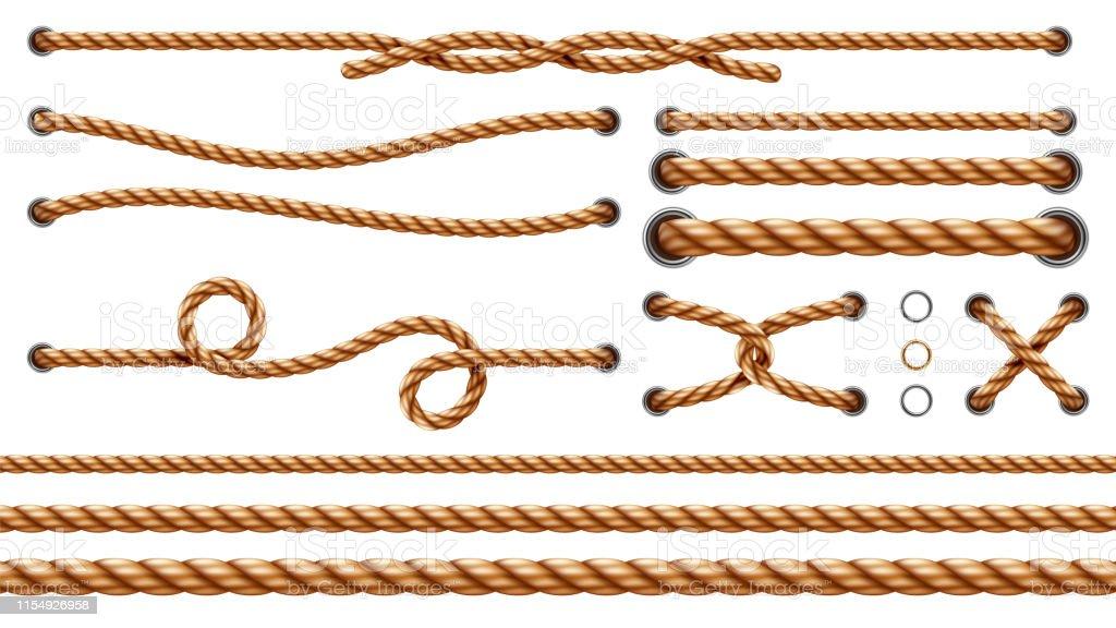 Ilustración De Conjunto De Cuerdas Rectas Aisladas Y Cuerdas