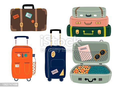 Set of Isolated Suitcases with wheels. Travel bags with various stickers.Hand drawn vector trendy illustration in flat cartoon style.