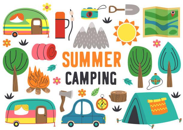 孤立した夏のキャンプの要素のセットパート1 - キャンプ点のイラスト素材/クリップアート素材/マンガ素材/アイコン素材