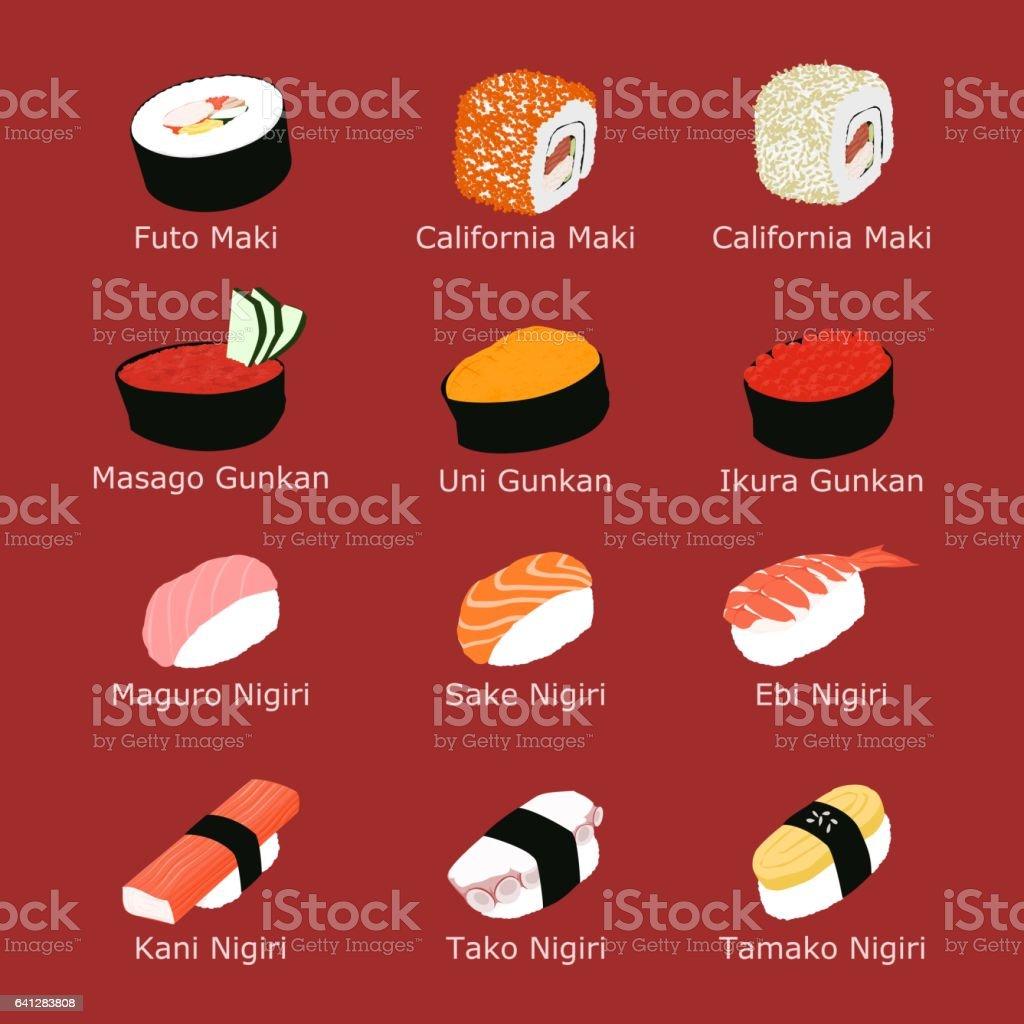 孤立した寿司のセット ベクターアートイラスト
