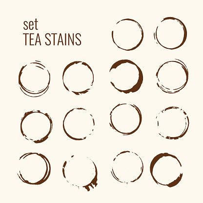 Set of isolated tea stains