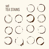 Set of isolated tea stains. The traced splatter in the background. Vector illustration.