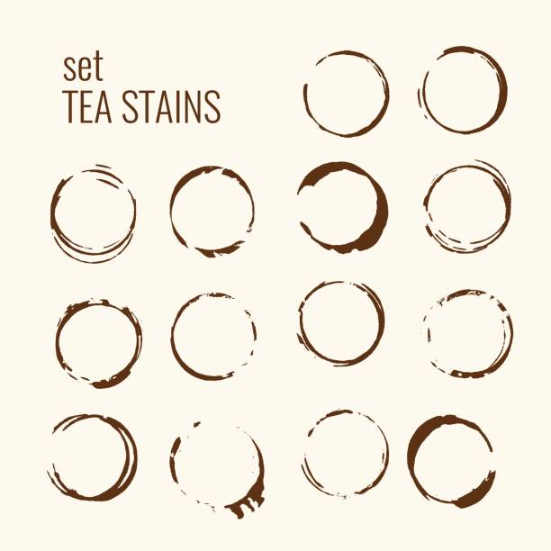 set of isolated tea stains - coffee stock illustrations, clip art, cartoons, & icons