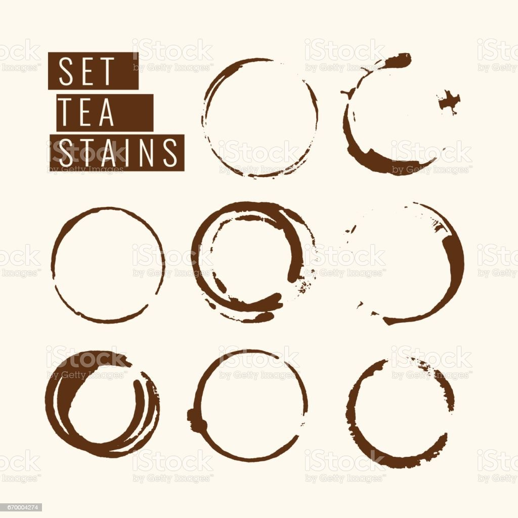 Set of isolated tea stains vector art illustration