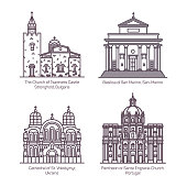 Set of isolated thin line churches and cathedral. St. Volodymyr of Ukraine, Basilica of San Marino, Tsarevets Castle Stronghold of Bulgaria, Pantheon, Santa Engracia of Portugal.Architecture religion