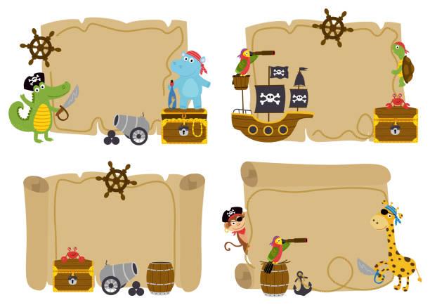 illustrations, cliparts, dessins animés et icônes de jeu de cartes au trésor isolé avec animaux pirates - cartes au trésor