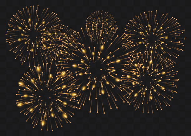 set of isolated vector fireworks on a transparent background. set of isolated vector fireworks on a transparent background. pyrotechnic effects stock illustrations