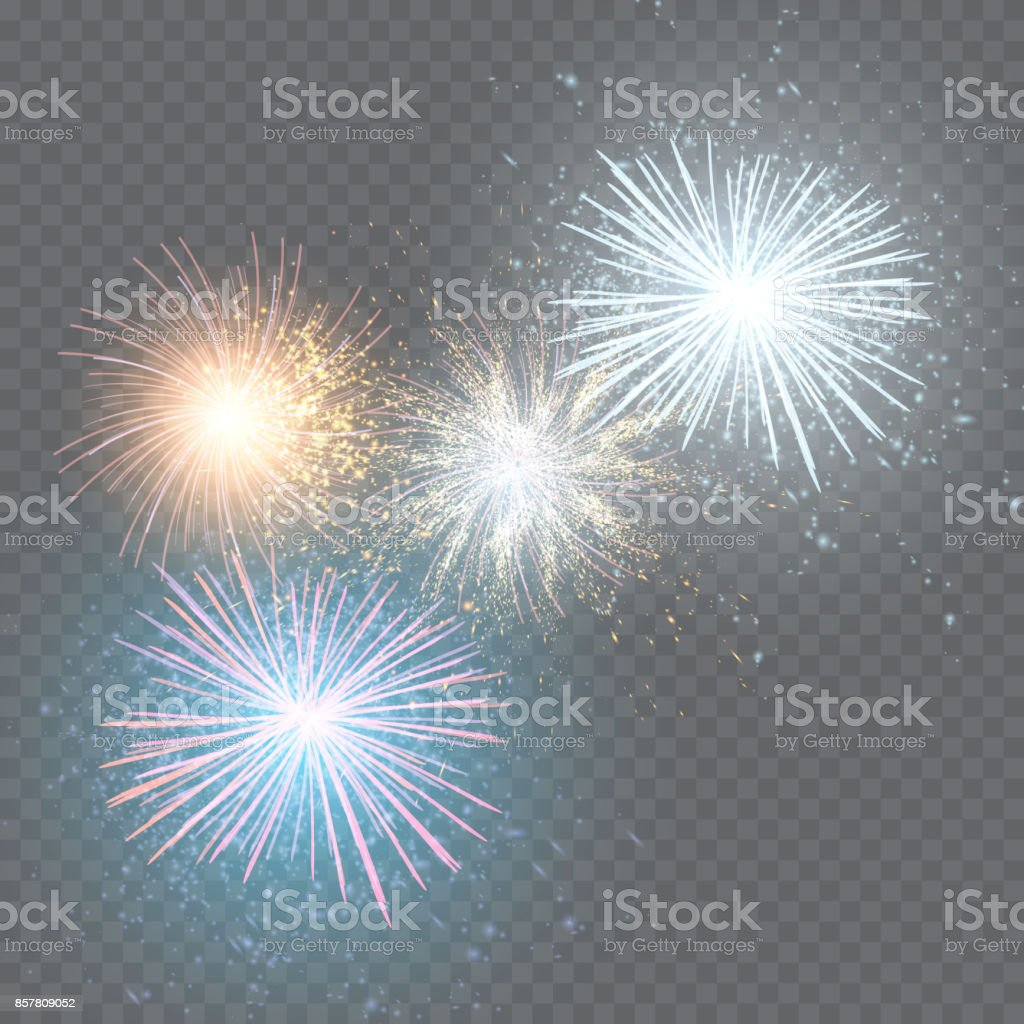 set of isolated vector fireworks on a transparent background. vector art illustration