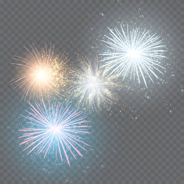 set of isolated vector fireworks on a transparent background. - fireworks stock illustrations