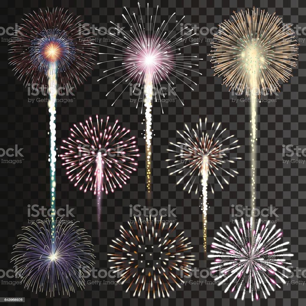 Set of isolated vector fireworks on transparent background vector art illustration