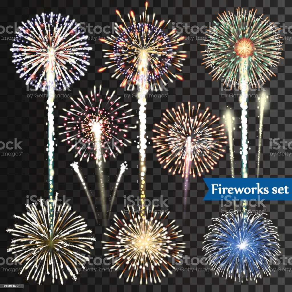 Set of isolated vector fireworks on transparent background vector art illustration