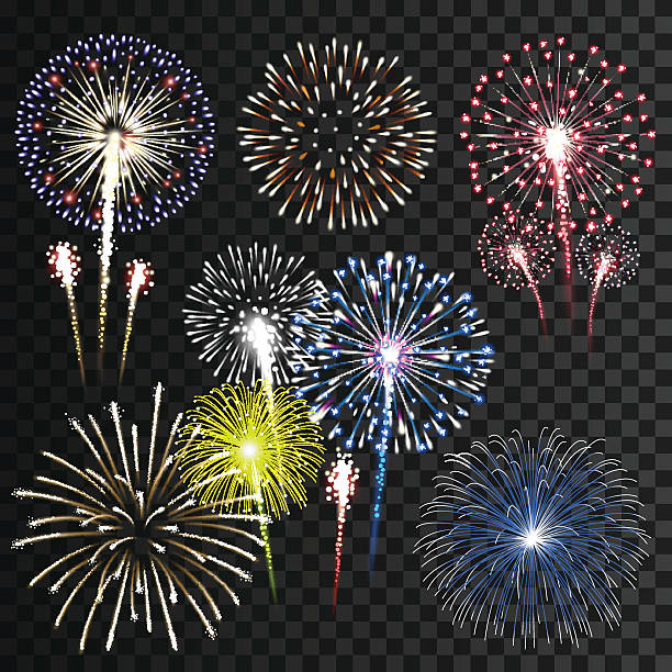set of isolated vector fireworks - fireworks vector art stock illustrations, clip art, cartoons, & icons