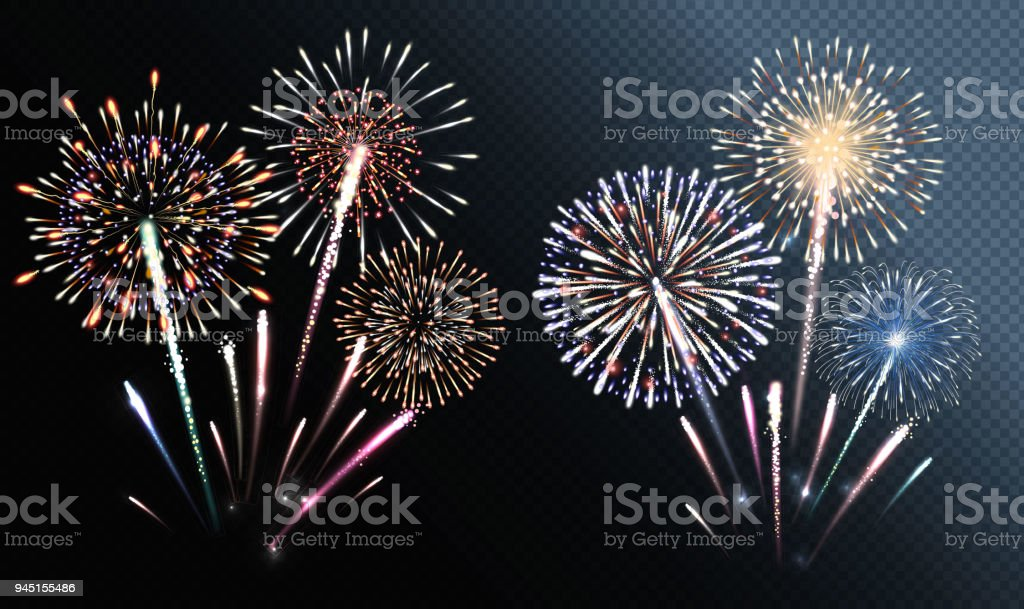 Set of isolated vector fireworks Set of isolated vector fireworks Abstract stock vector