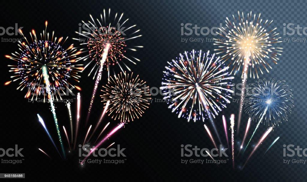 Set of isolated vector fireworks - Grafika wektorowa royalty-free (Abstrakcja)