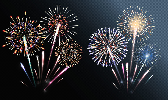 Set Of Isolated Vector Fireworks Stock Illustration - Download Image Now