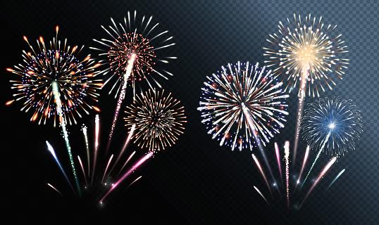 Set Of Isolated Vector Fireworks - Stockowe grafiki wektorowe i więcej obrazów Abstrakcja