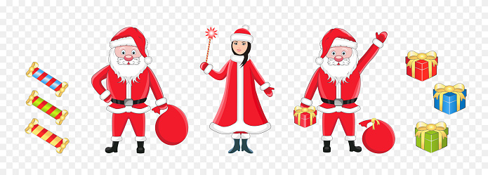 Set of isolated vector illustrations of Santa Claus, snow maiden, gifts and candy.