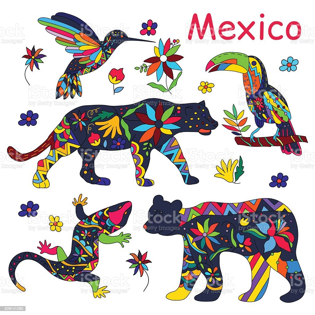 Set of isolated vector images of Mexican animals.Vector. vector art illustration