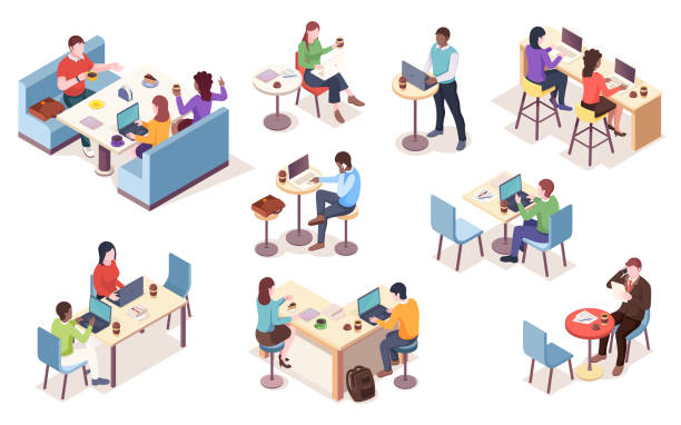ilustrações de stock, clip art, desenhos animados e ícones de set of isolated vector isometric people with notebook at cafe. cafeteria work or job at dining room infographic element. workspace icons. coworker with coffee or tea. business lunch with coffee - coworking