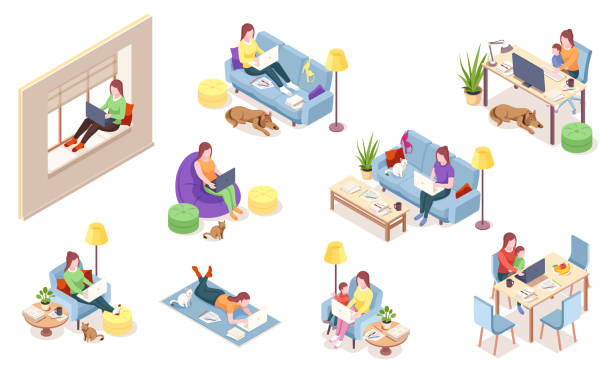 Set of isolated vector woman at workplace. Girl with notebook sitting in chair bag, windowsill, sofa desk with computer, lying on floor. Freelancer working with dog, cat, pet.Isometric office employee Set of isolated vector woman at workplace. Girl with notebook sitting in chair bag, windowsill, sofa desk with computer, lying on floor. Freelancer working with dog, cat, pet.Isometric office employee isometric stock illustrations