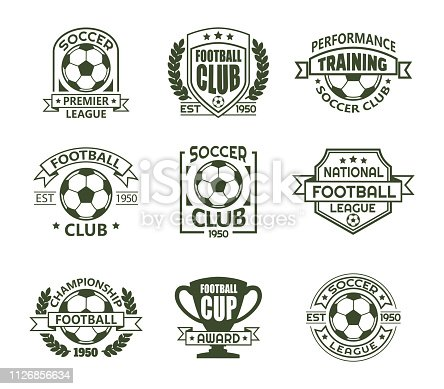 Set of isolated soccer badges for tournament or competition. icon with ball and cup or trophy for european football team. Training club or sport school emblem. Sign for fans. Game banner