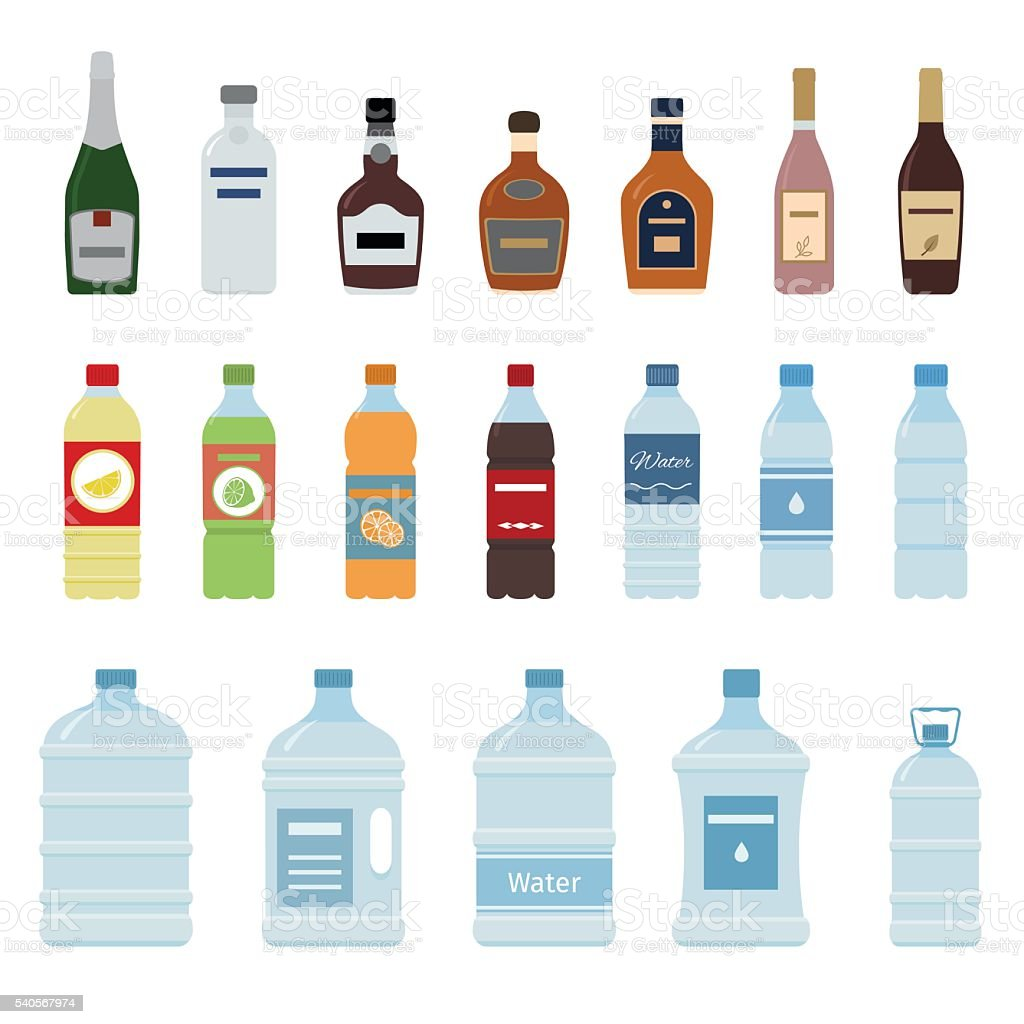 Set of isolated water and alcohol bottle icon. vector art illustration