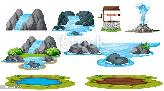 Set of isolated water element illustration