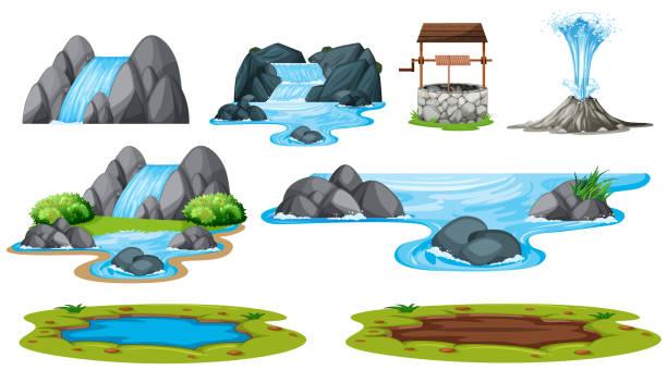 ilustrações de stock, clip art, desenhos animados e ícones de set of isolated water element - river