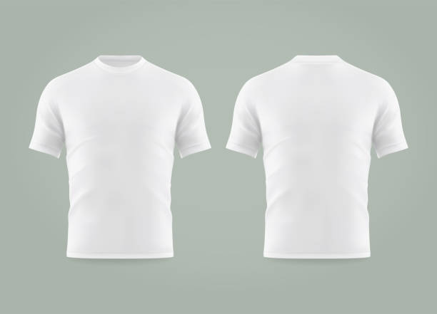 Set of isolated white t-shirt or realistic apparel Set of isolated white t-shirt or realistic apparel with u-neck and short sleeve. 3d blank or empty, clear cotton t shirt. Men and women, male and female clothing. Man and woman uniform mockup facade stock illustrations