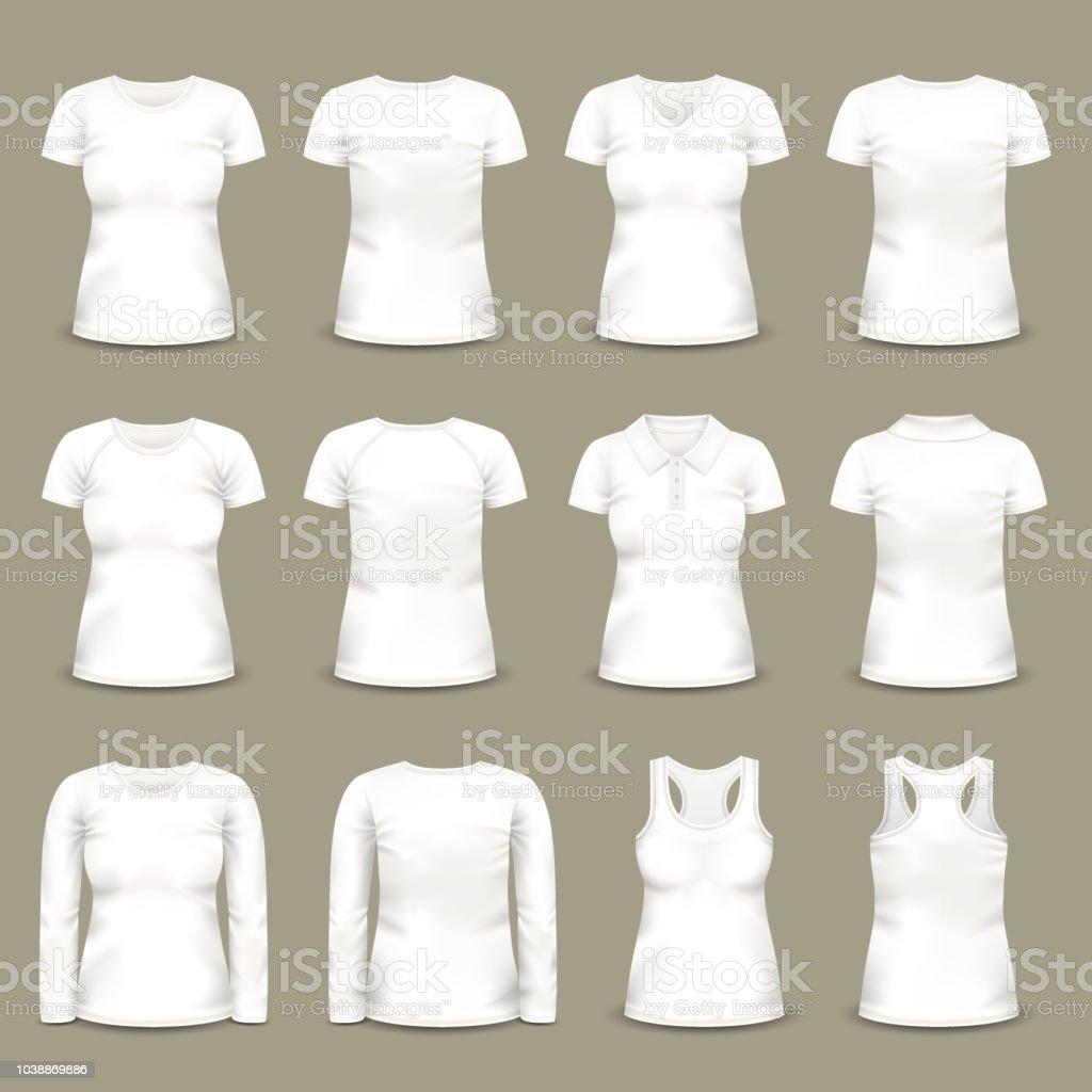 Ilustración de Conjunto De Camisetas De Mujer Blanca Aislada Y ...