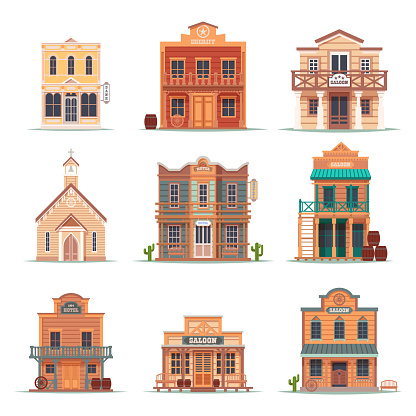 Set of isolated wild west building. American saloon and church, hotel or motel, sheriff or police house, bank and bar. Exterior view on retro USA buildings facade. Architecture, cowboy, western theme