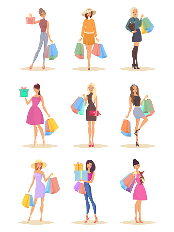 Set of isolated women with bags after shopping