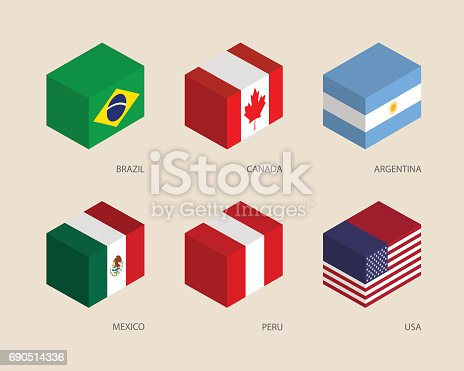 Set of isometric 3d boxes with flags. Simple containers with standards - Canada, USA, Argentina, Peru, Brazil, Mexico. Geometric icons for infographics.