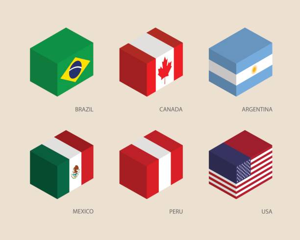 Set of isometric 3d boxes Set of isometric 3d boxes with flags. Simple containers with standards - Canada, USA, Argentina, Peru, Brazil, Mexico. Geometric icons for infographics. chest torso stock illustrations